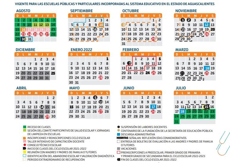 Calendario escolar 2021 2022 Aguascalientes