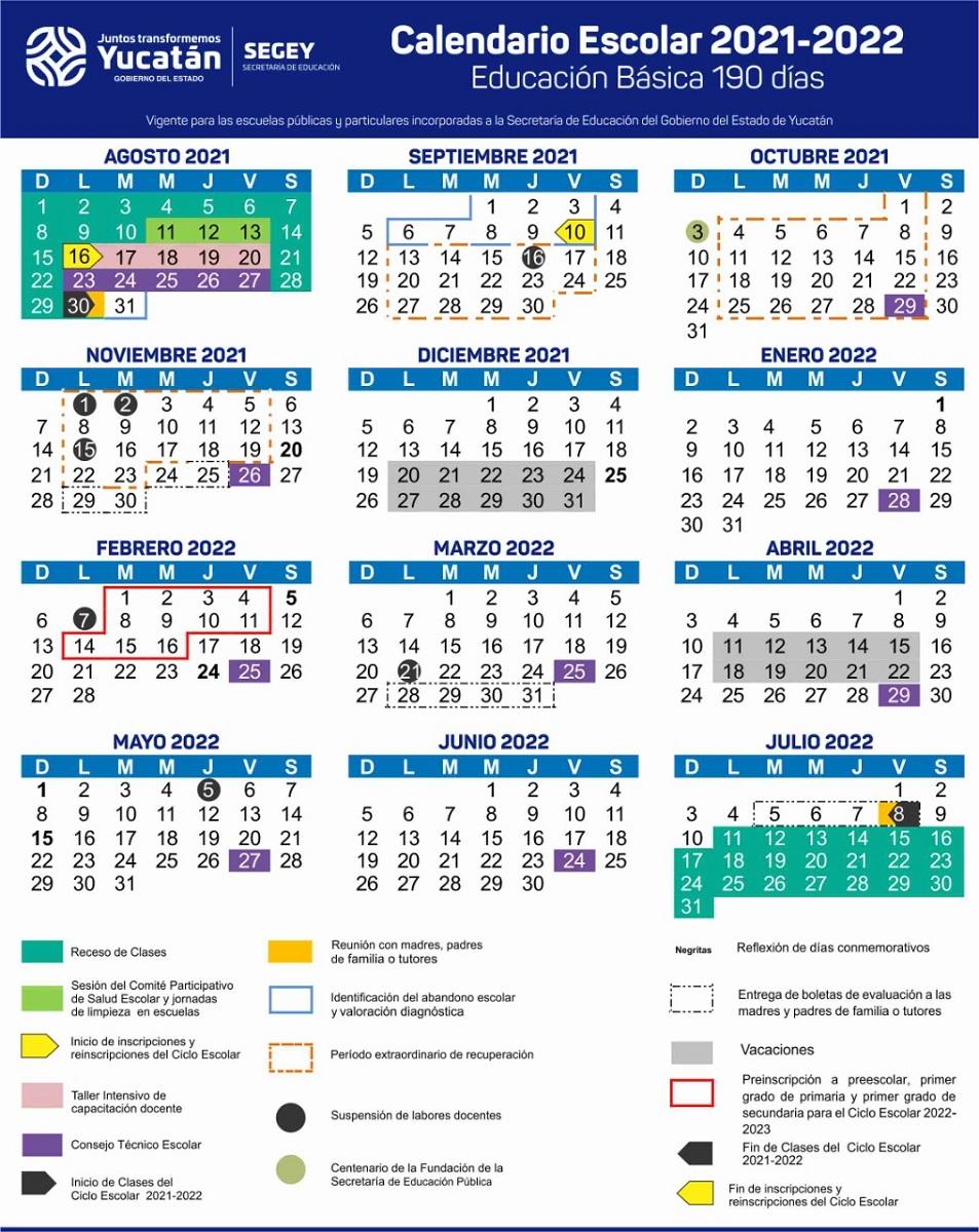 Calendario escolar 2021 2022 Yucatán