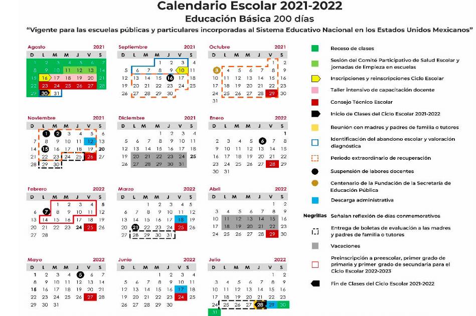 Calendario Escolar SEP 2021 2022
