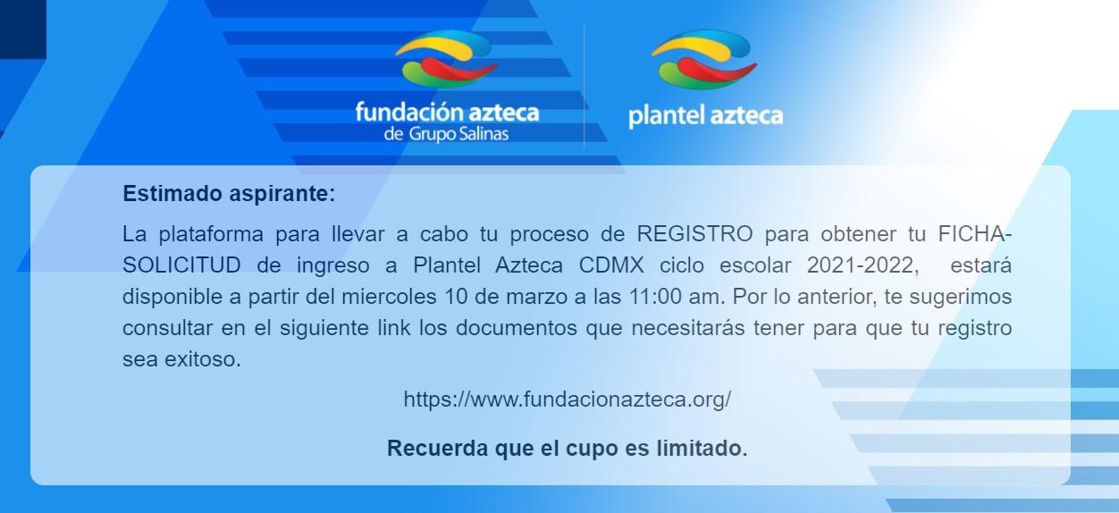 Página de registro Aspirante Plantel Azteca